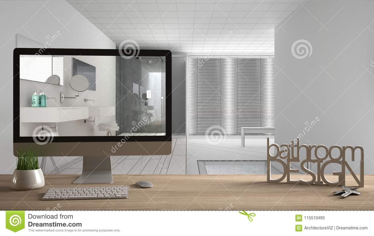 Architect Designer Project Concept Wooden Table With Keys 3d Letters Words Bathroom Design And Desktop Showing Draft Blueprint Stock Illustration Illustration Of Letters Architect 115510493