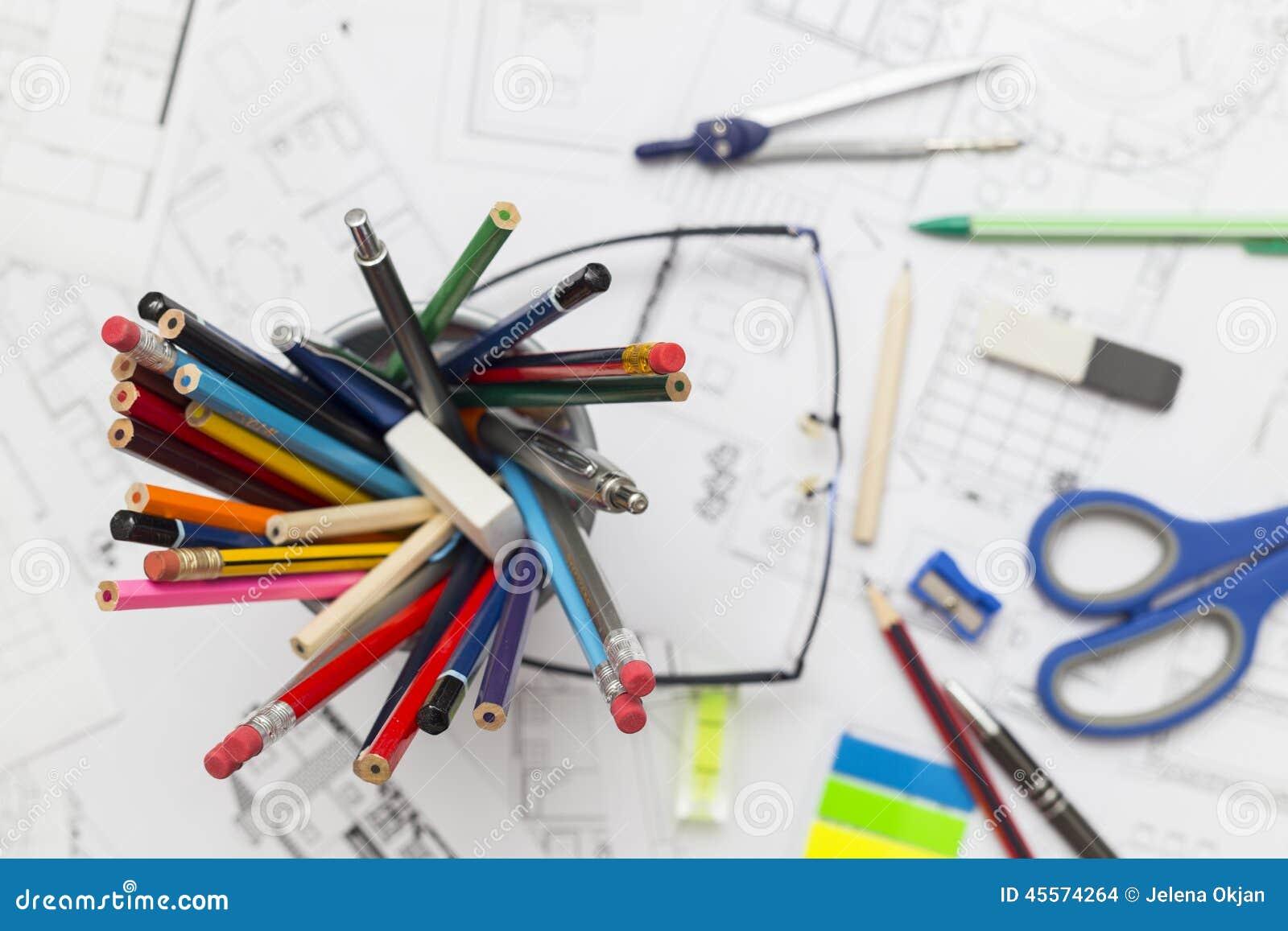 Architect Desk architect desk stock photo - image: 45574264