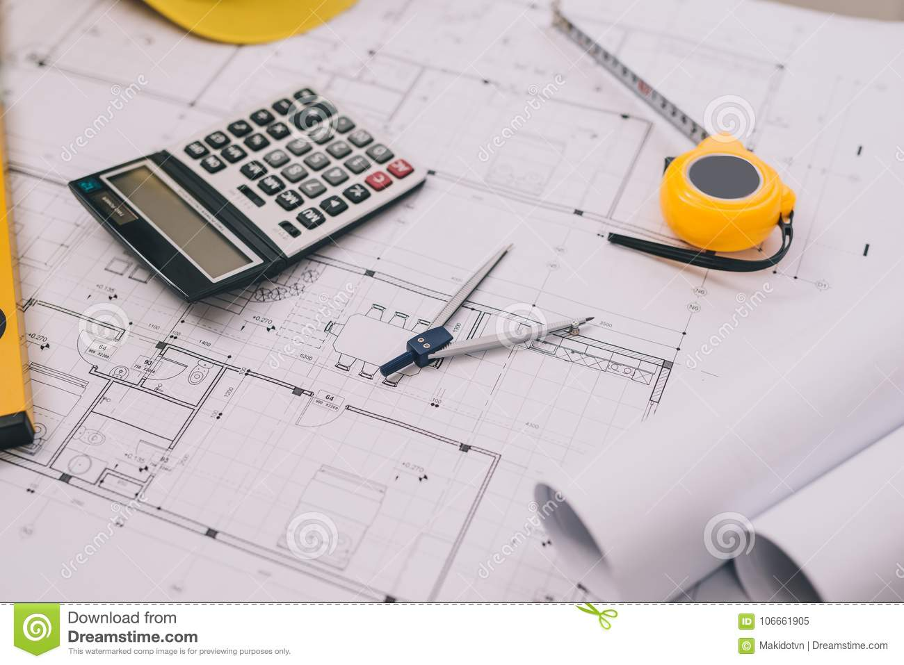 Architect desk project in construction site with blueprintpent & Architect Desk Project In Construction Site With Blueprintpent ...