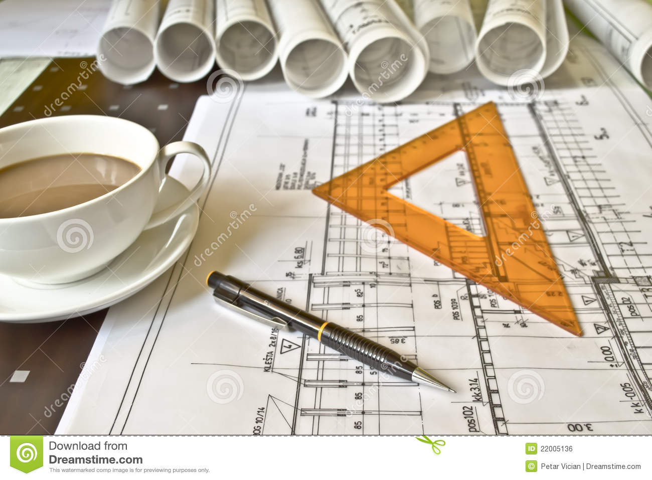 Architects Desk floor plan on architect's desk royalty free stock photo - image