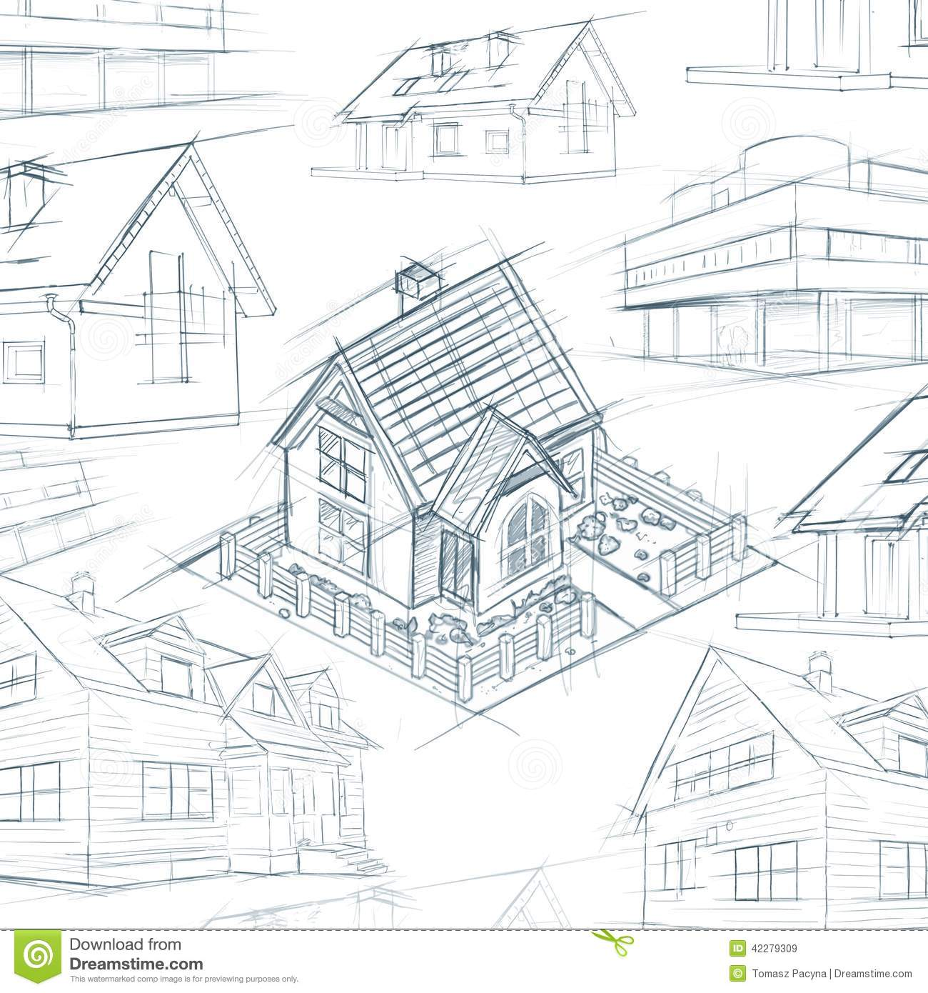 Architect Desktop House Sketch Background Stock