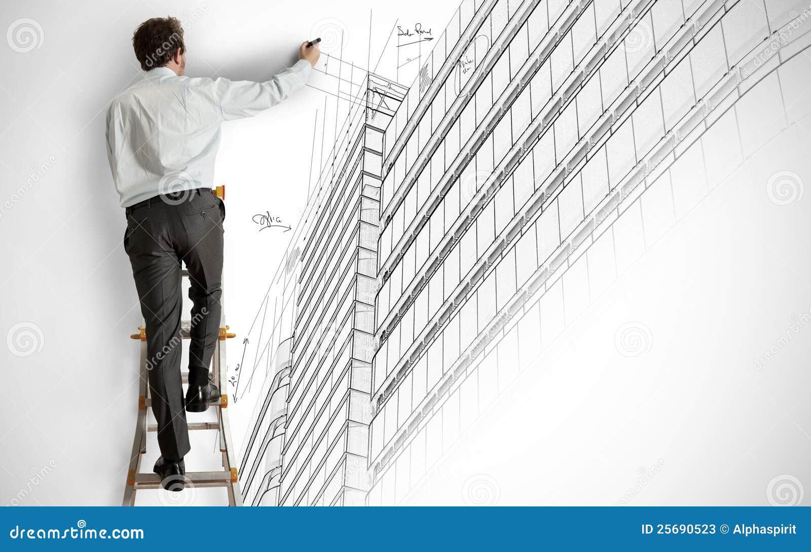 Architect die een project trekt