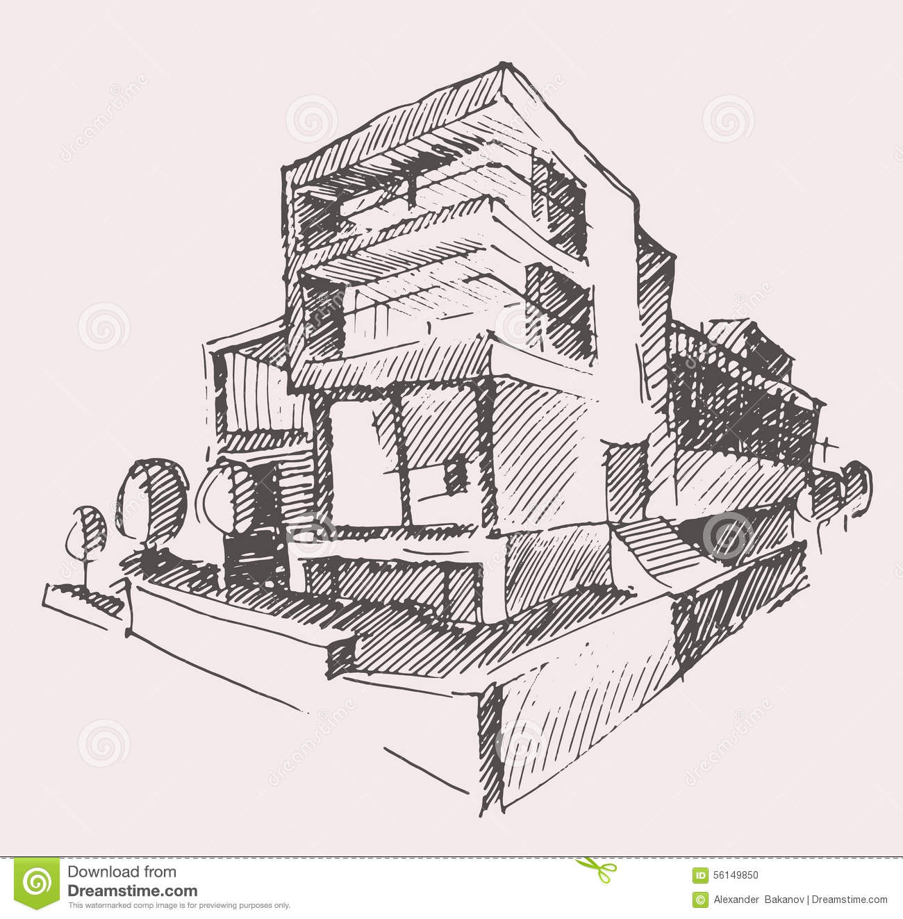 Architect draft modern new house building concept stock for Modern house construction