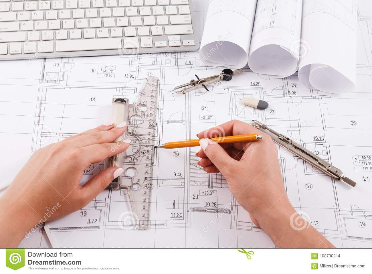 Architect Drawing Architectural Project Stock Photo Image Of Draw