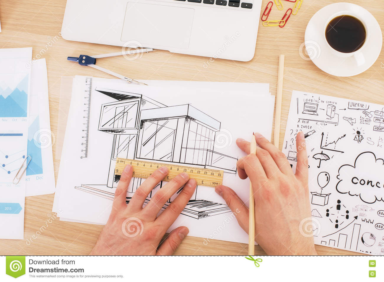 Architect Drawing Blueprint Top Stock Photo Image Of Compasses