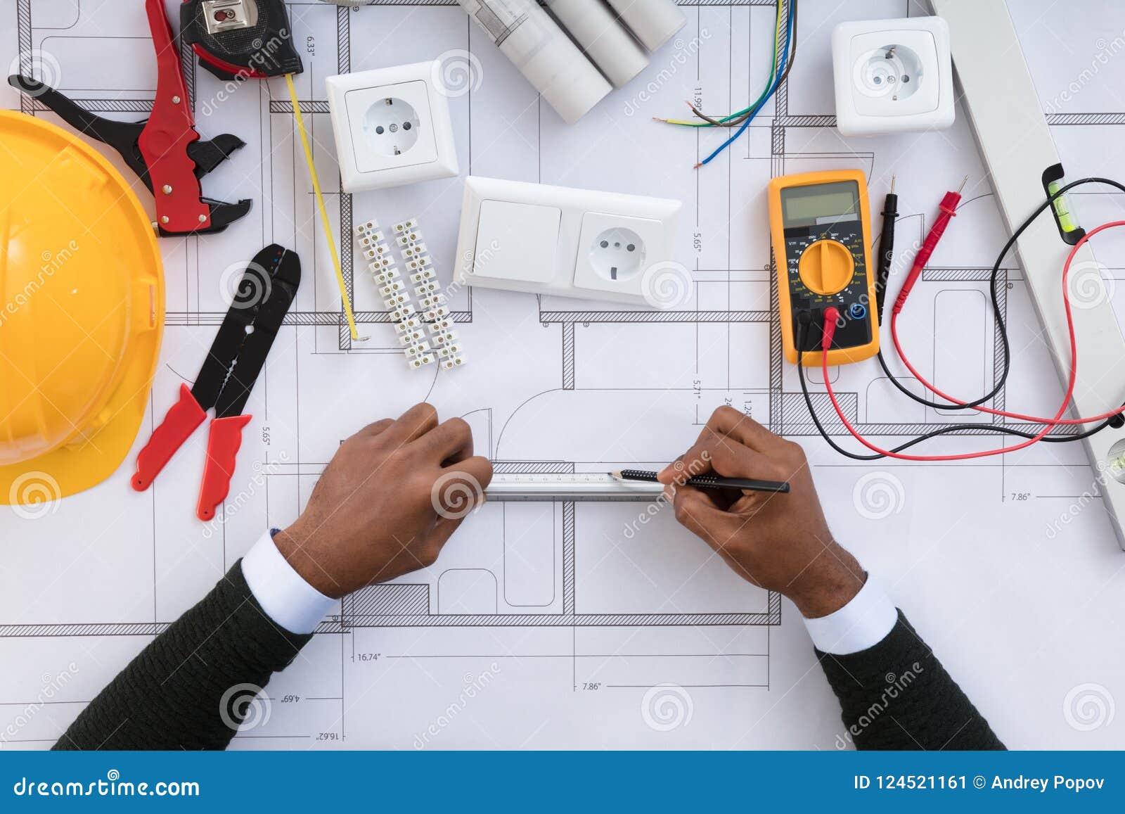 Architect Drawing Plan On Blueprint Stock Image Image Of Hand