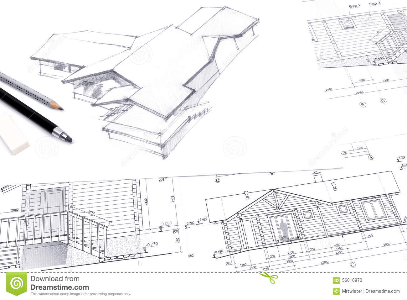 Architect drawing a sketch with pencil stock illustration for Renovation drawings