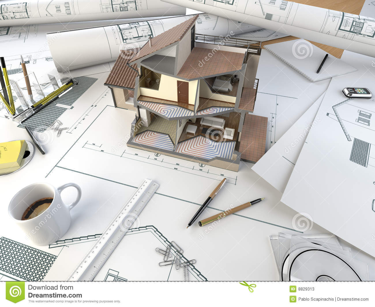 Architect drawing table with section model stock photos for How to be an architect