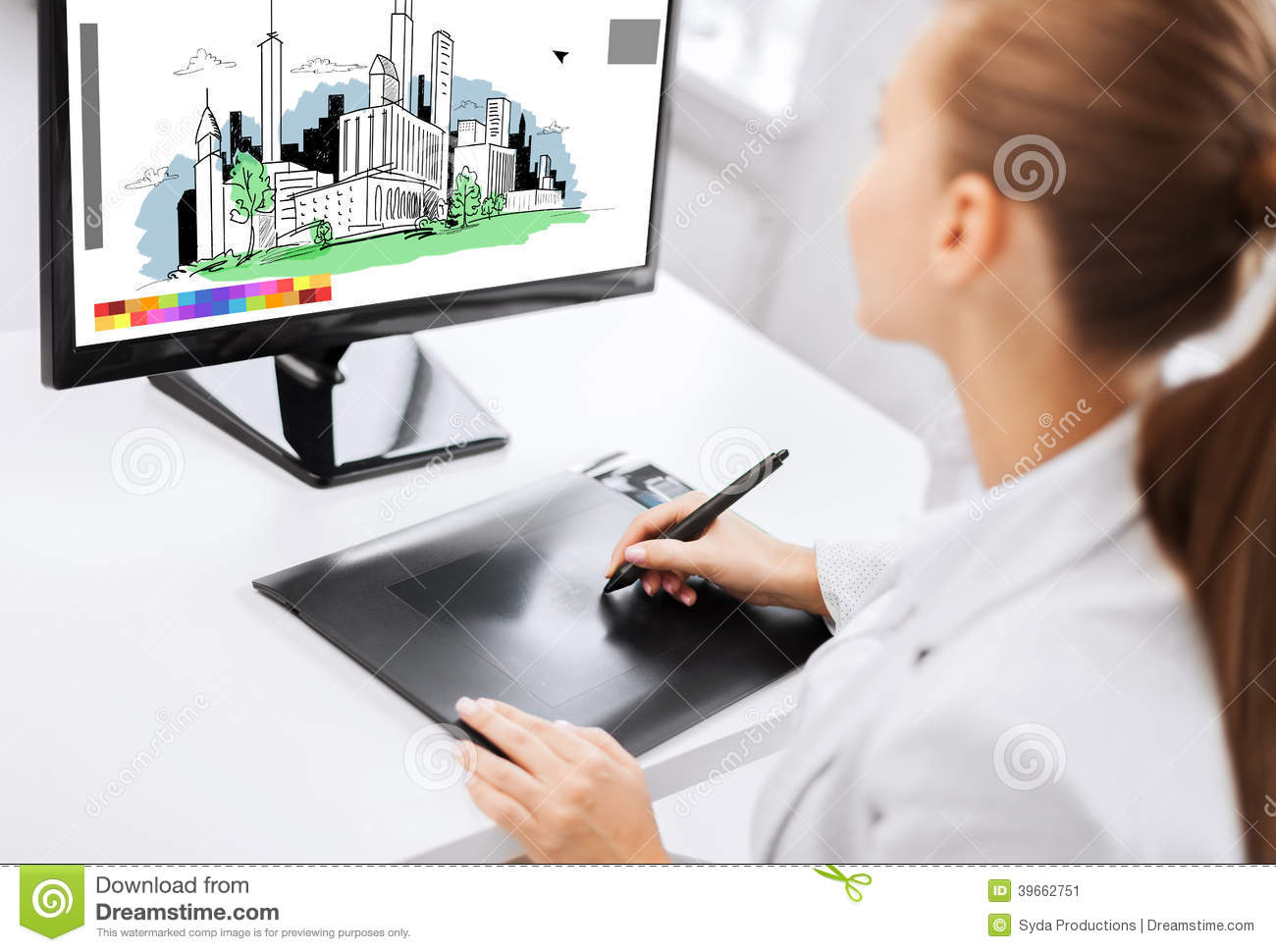 Architect with drawing tablet in office stock image for Architect education