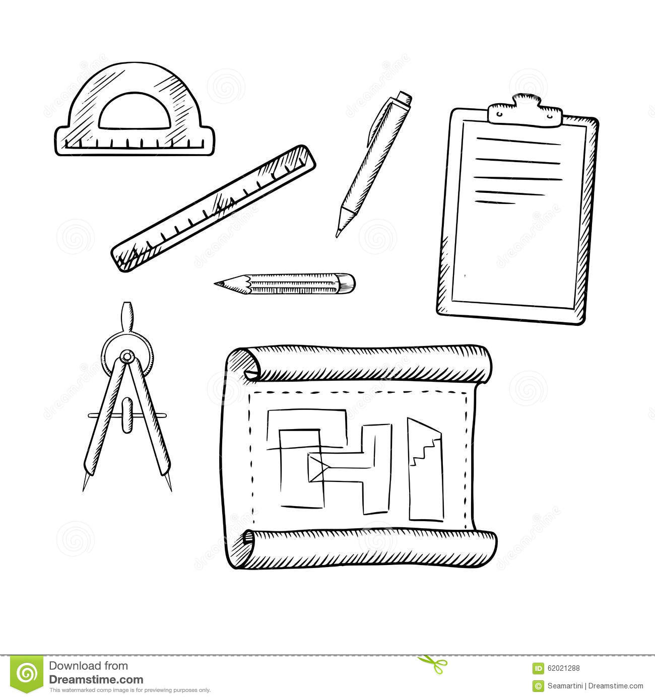 Architect drawing and tools sketches stock vector for Architecture drawing tools
