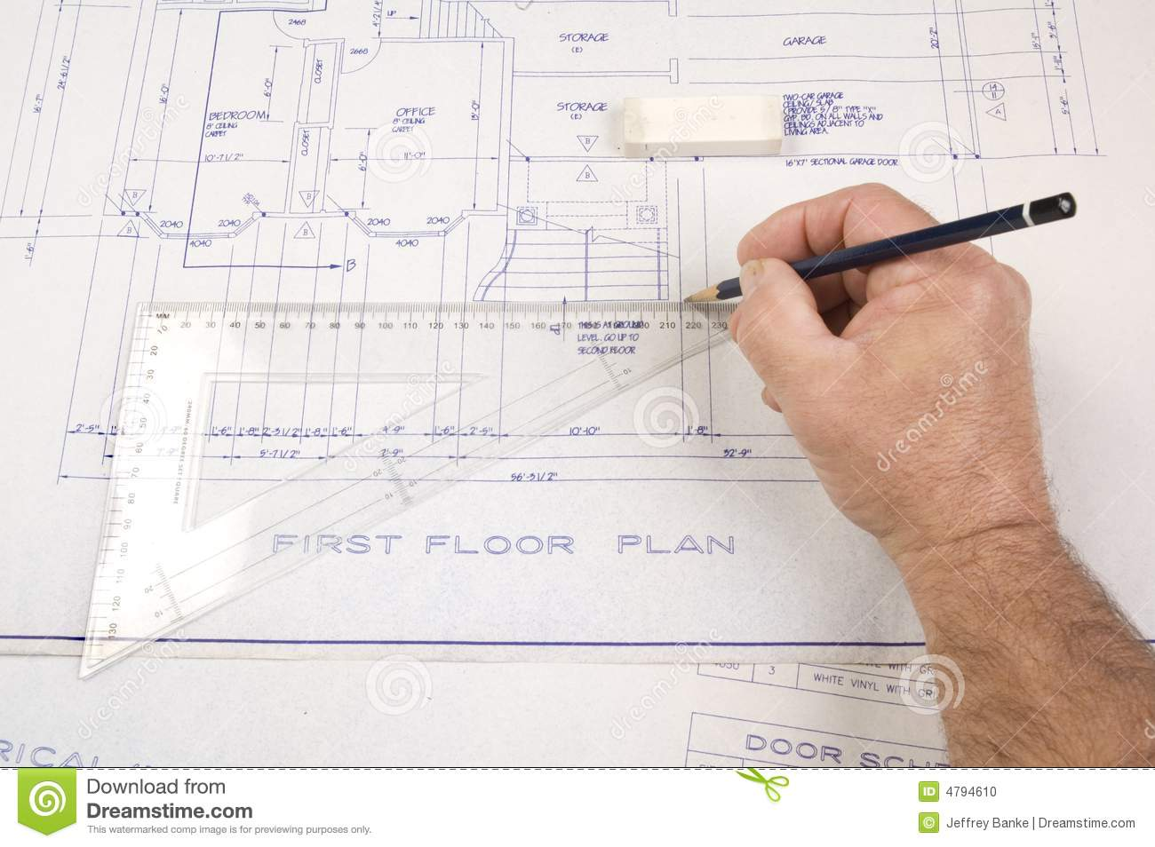 House Architecture Drawing architect's drawing and plans royalty free stock photo - image