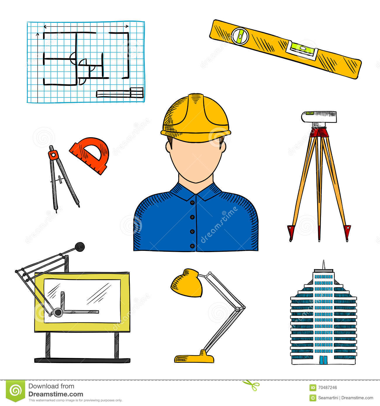 Architect Or Engineer With Construction Symbols Stock Vector