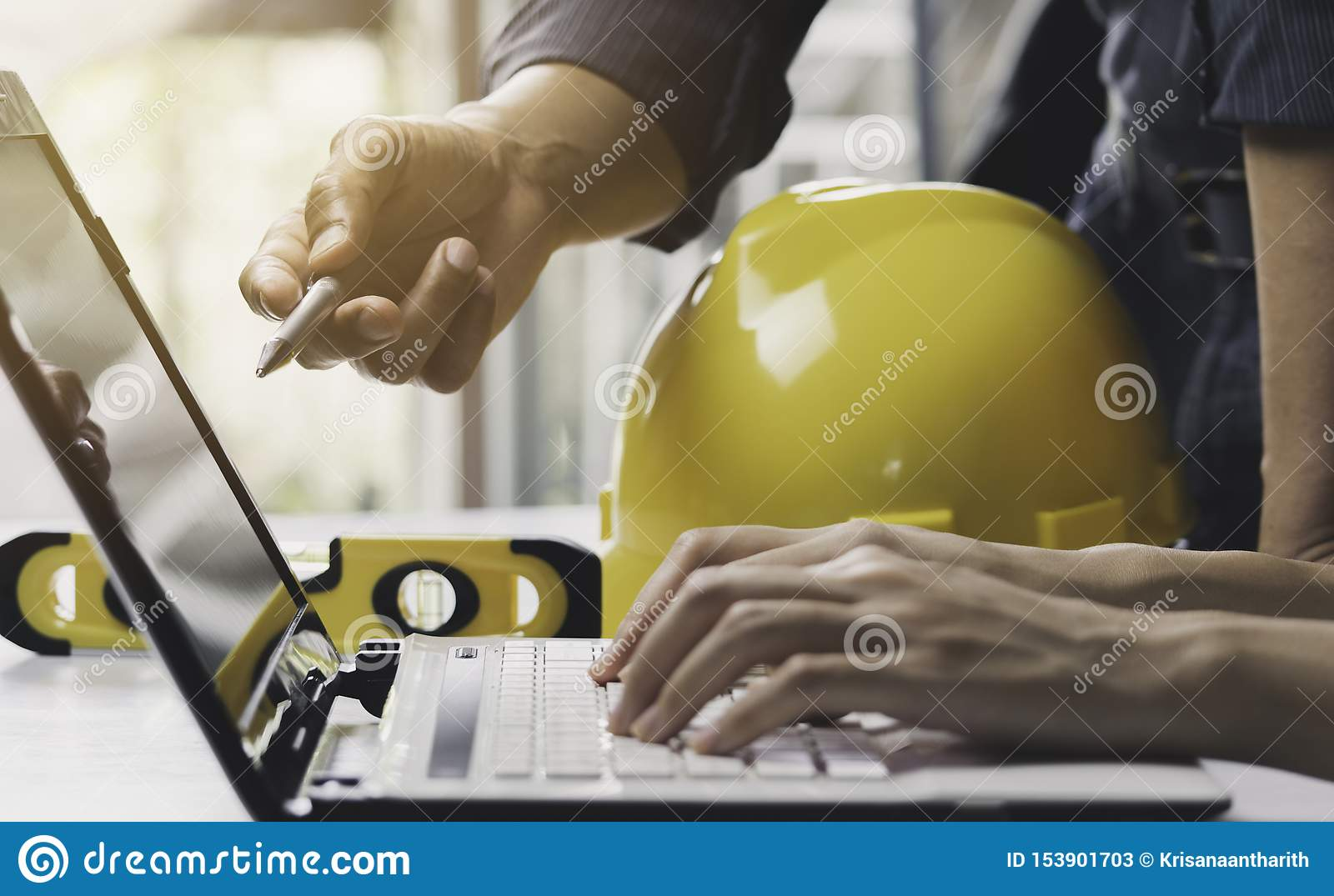 Architect engineer working concept and construction tools or safety equipment on table