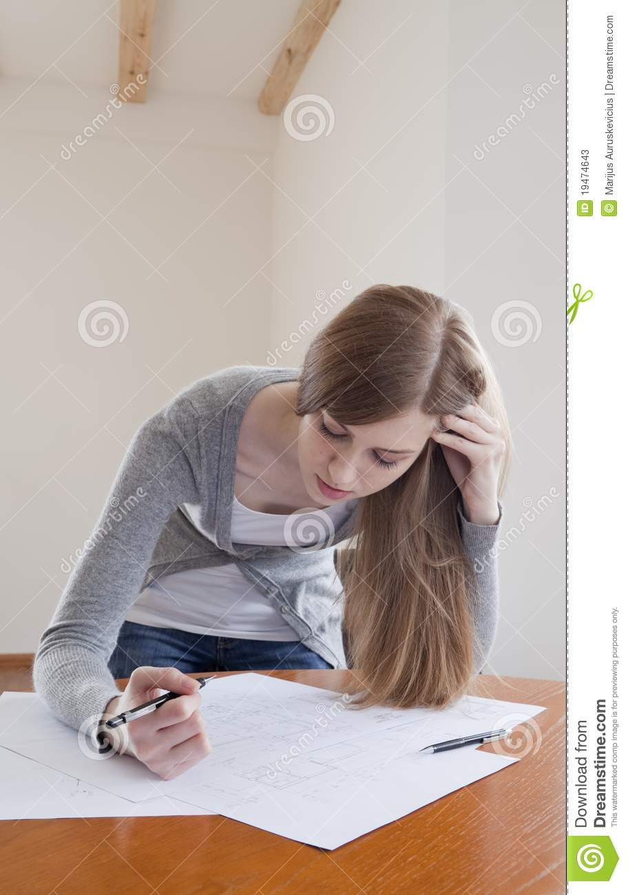 Architect girl at work stock photos image 19474643 for Architect at work