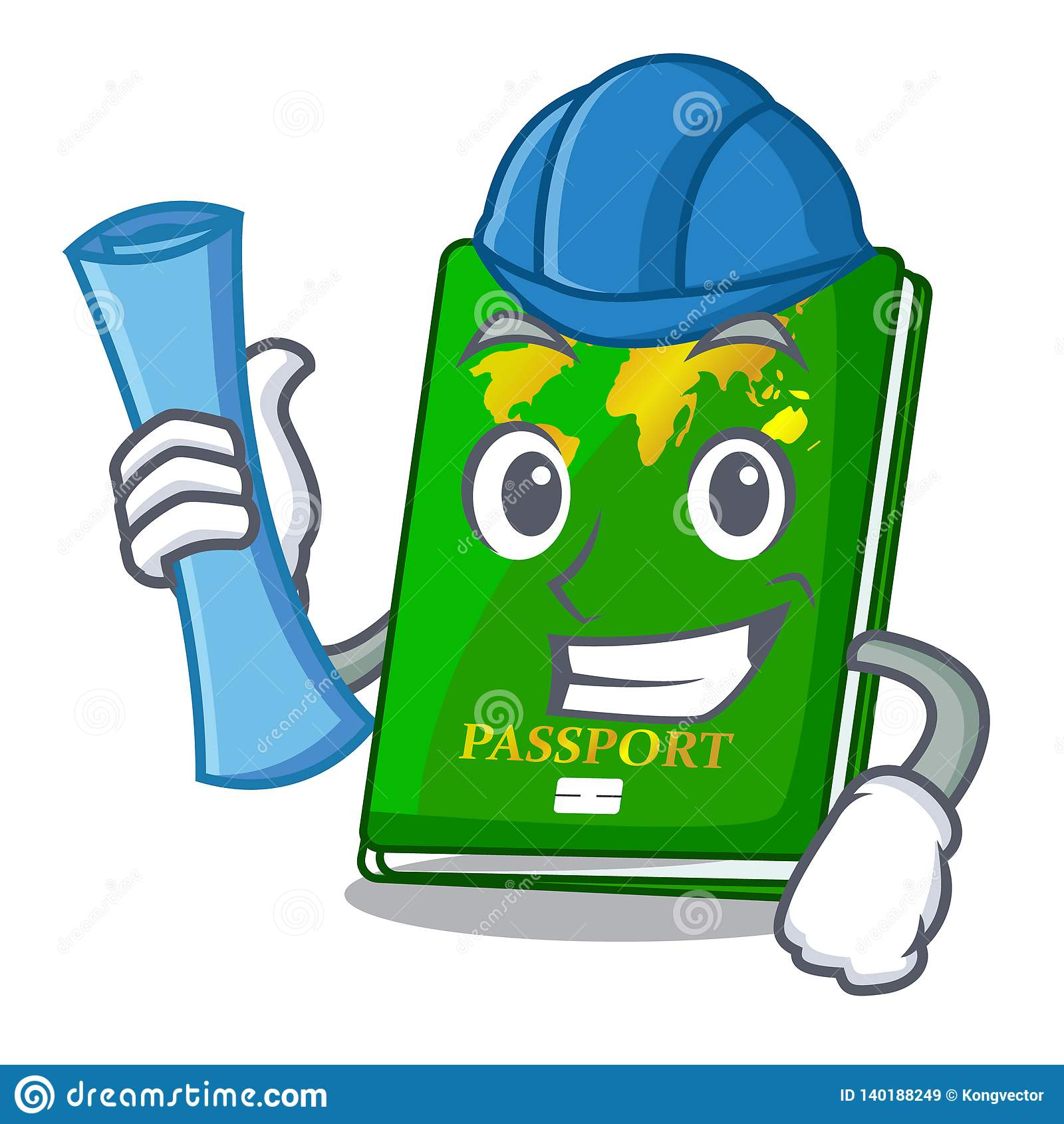 Architect green passport in the cartoon shape