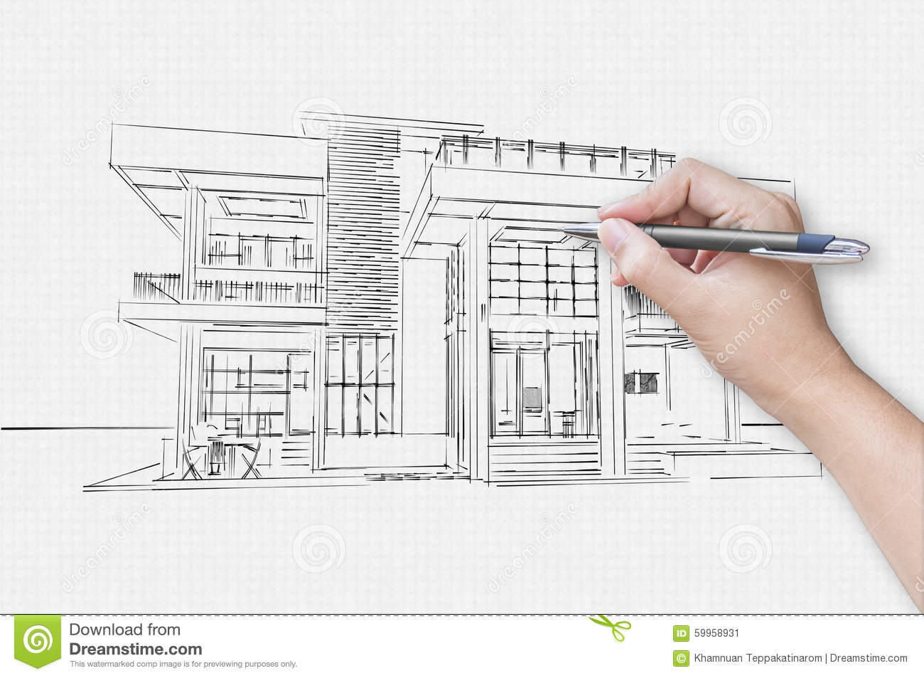 Architect Hand Drawing A House Stock Photo Image