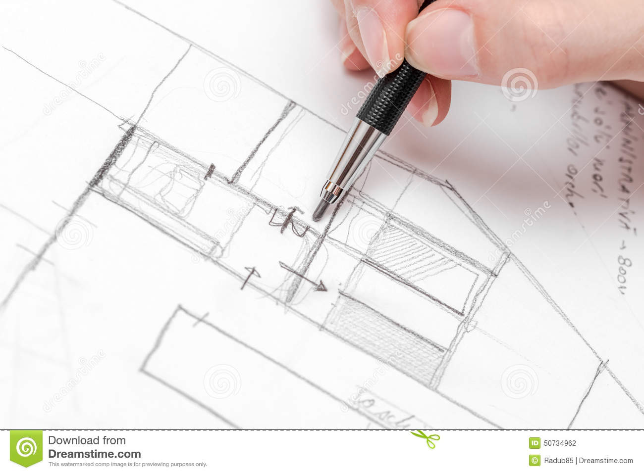 Architect hand drawing house plan sketch stock photo for How to draw architectural plans by hand