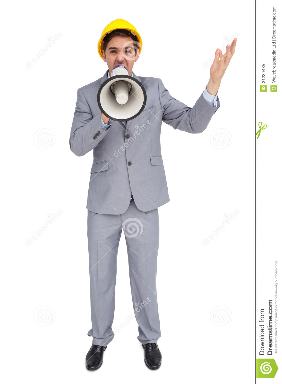 Architect With Hard Hat Shouting With A Megaphone Royalty