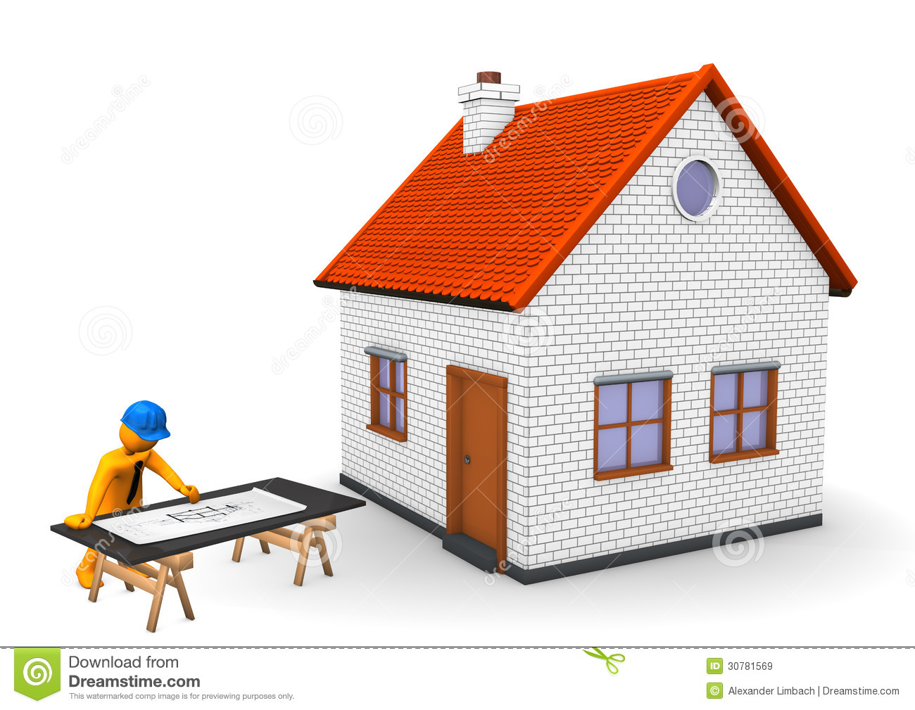 Architect house stock illustration illustration of for Construction architect