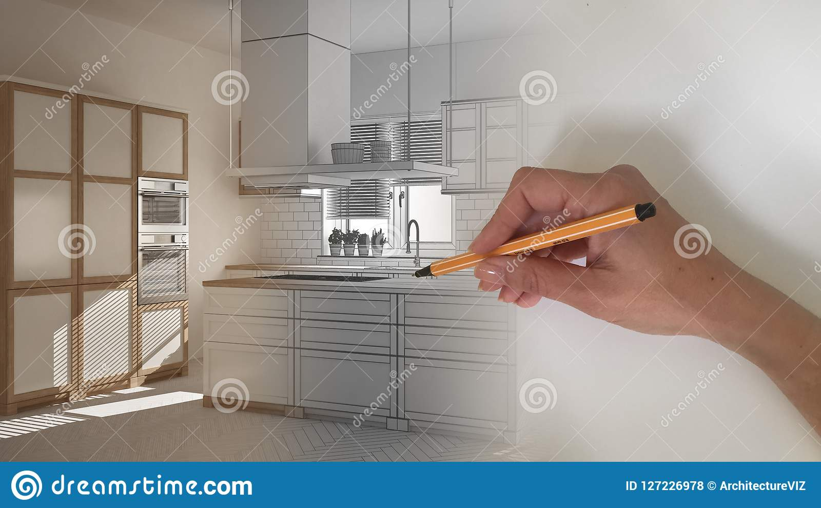 Architect interior designer concept: hand drawing a design interior project while the space becomes real, white wooden modern kitc