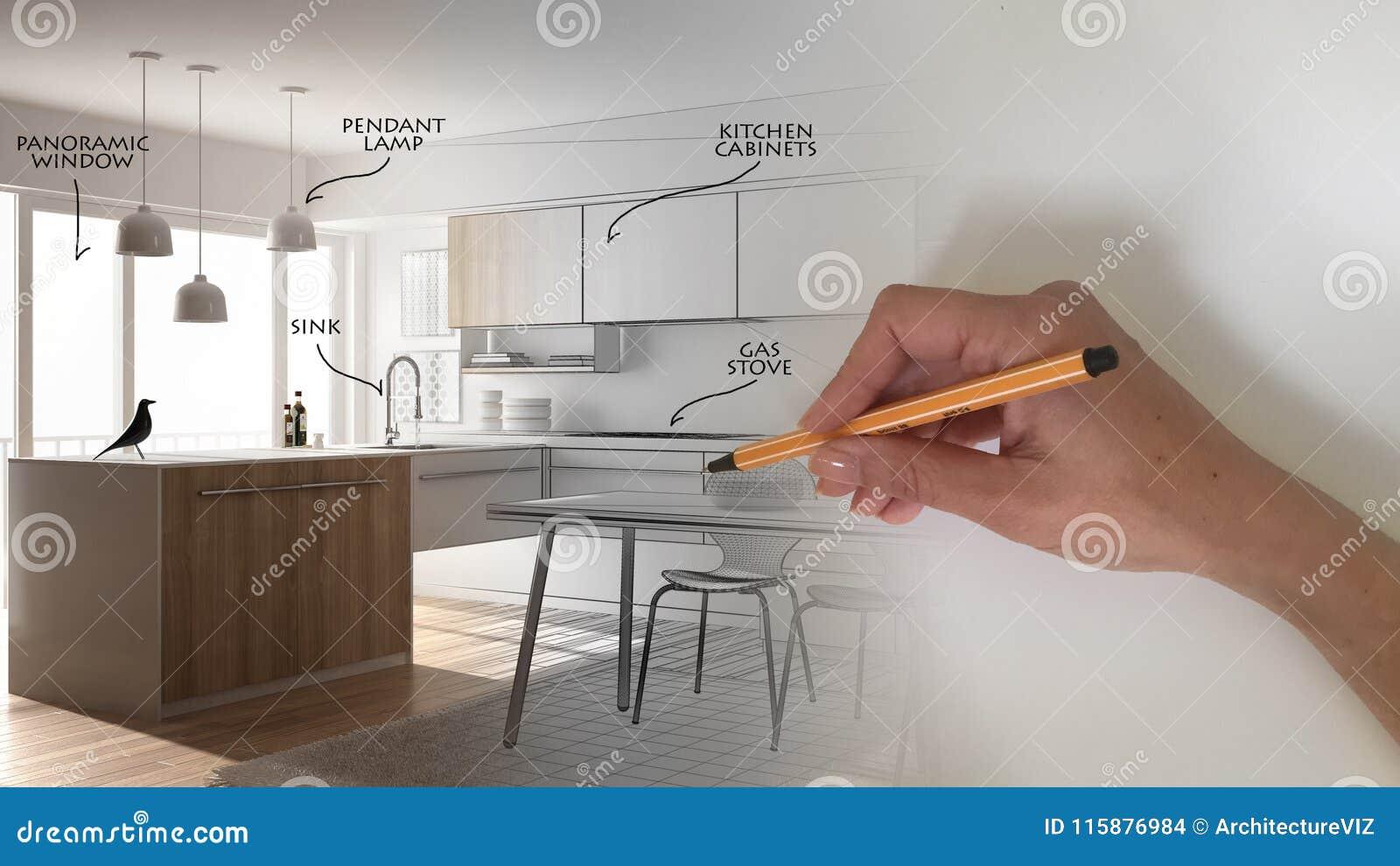 Architect Interior Designer Concept Hand Drawing A Design ...