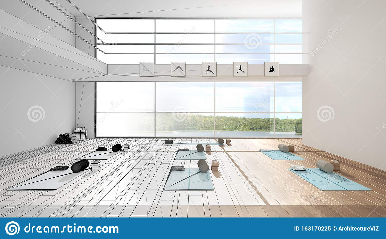 Architect Interior Designer Concept Unfinished Project That Becomes Real Empty Yoga Studio Design Spatial Organization With Stock Image Image Of Housing Activity 163170225