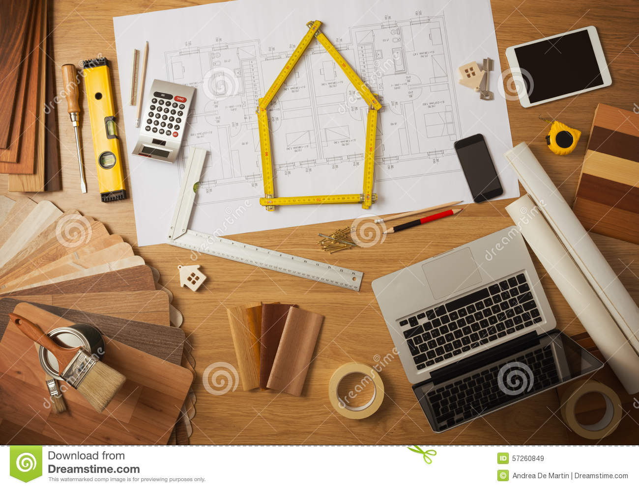 Architect and interior designer work table stock image for Interior decoration tools