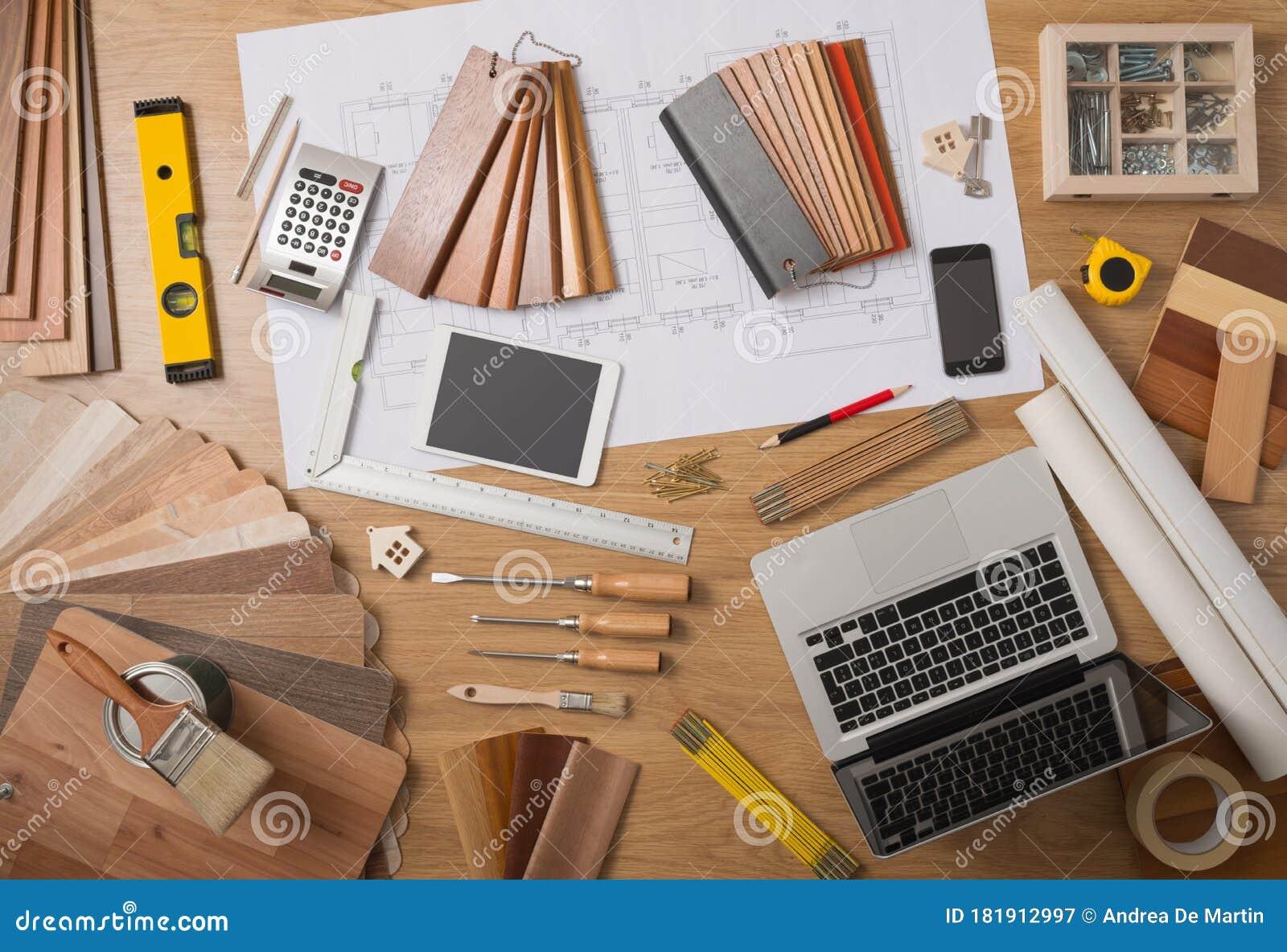 Architect And Interior Designer Work Table Stock Image Image Of Designer Interior 181912997