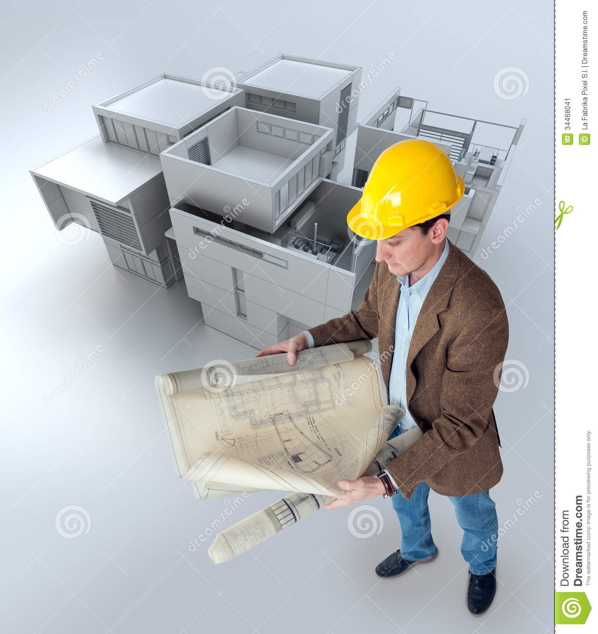 Architect And Mockup Stock Image Image 34468041
