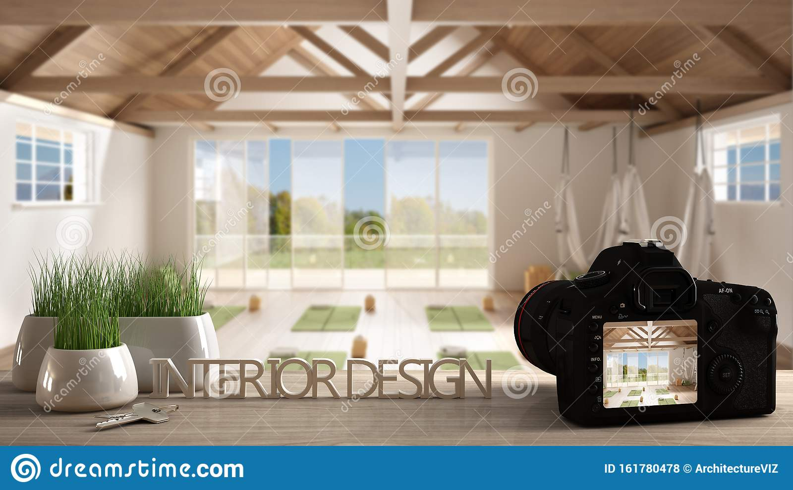 Architect Photographer Designer Desktop Concept Camera On Wooden Work Desk With Screen Showing Interior Design Project Empty Stock Photo Image Of Grass Blur 161780478