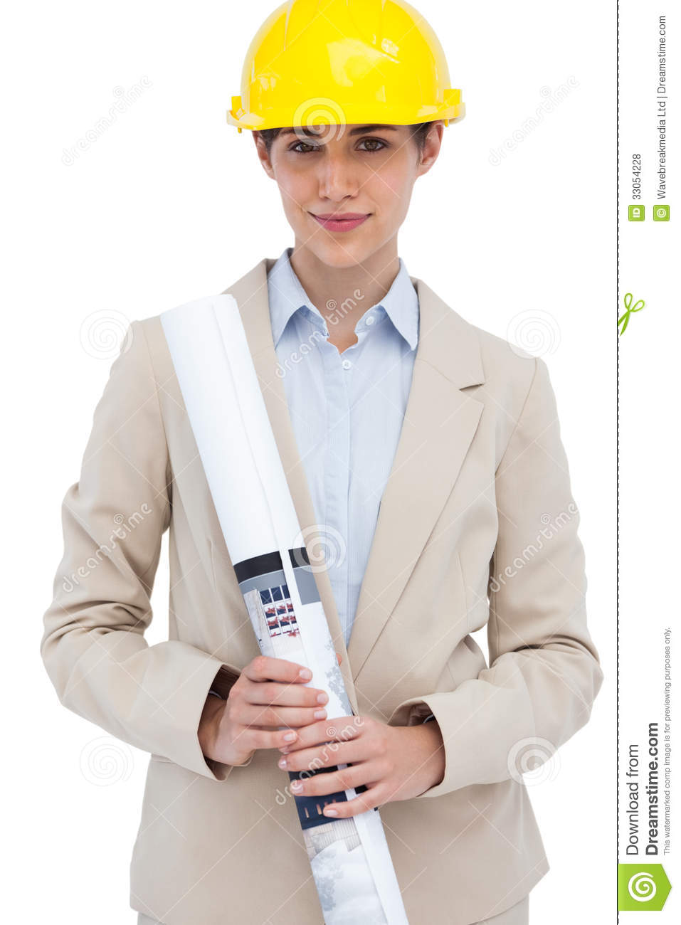 Architect Posing With Hard Hat And Plan Royalty Free Stock
