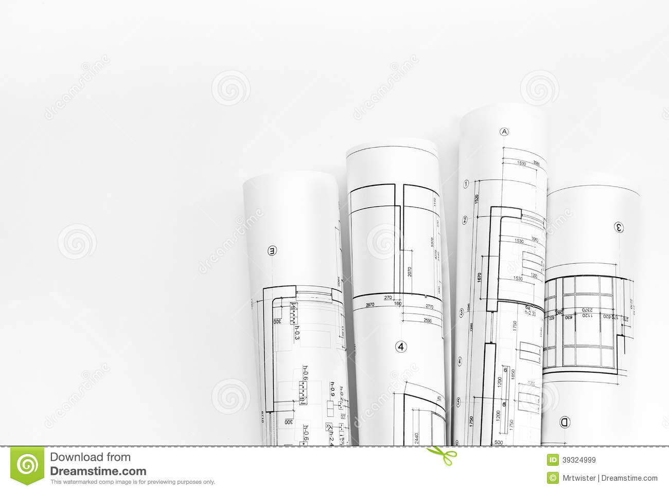 Architect rolls and plans stock photo image 39324999 for Architect online free
