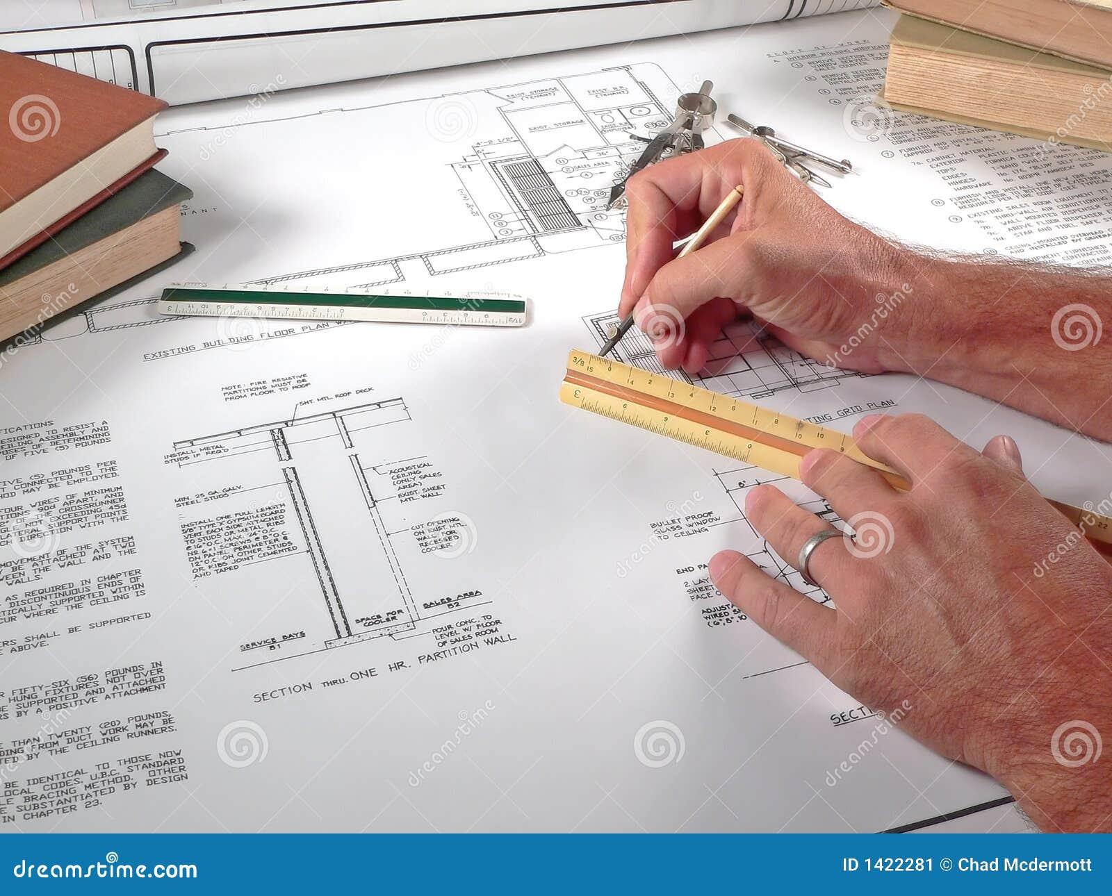 Architect 39 S Workspace Tools And Blueprints Stock Image Image 1422281