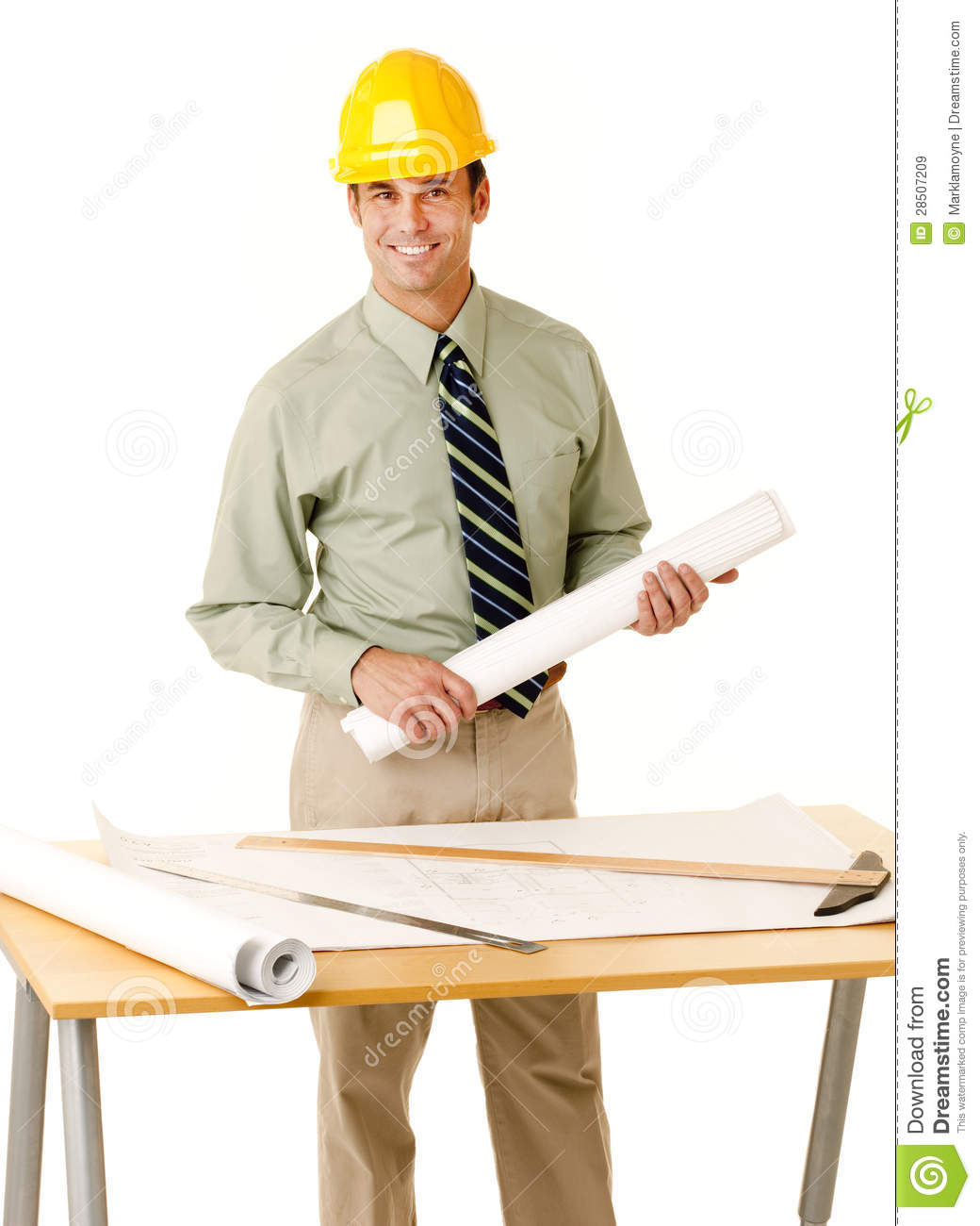 Architect in shirt and tie wearing a hard hat