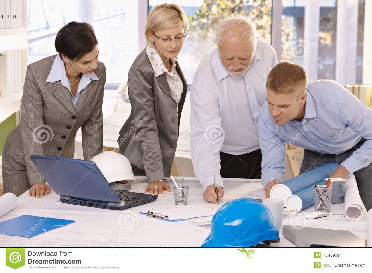 Architect team working together in office