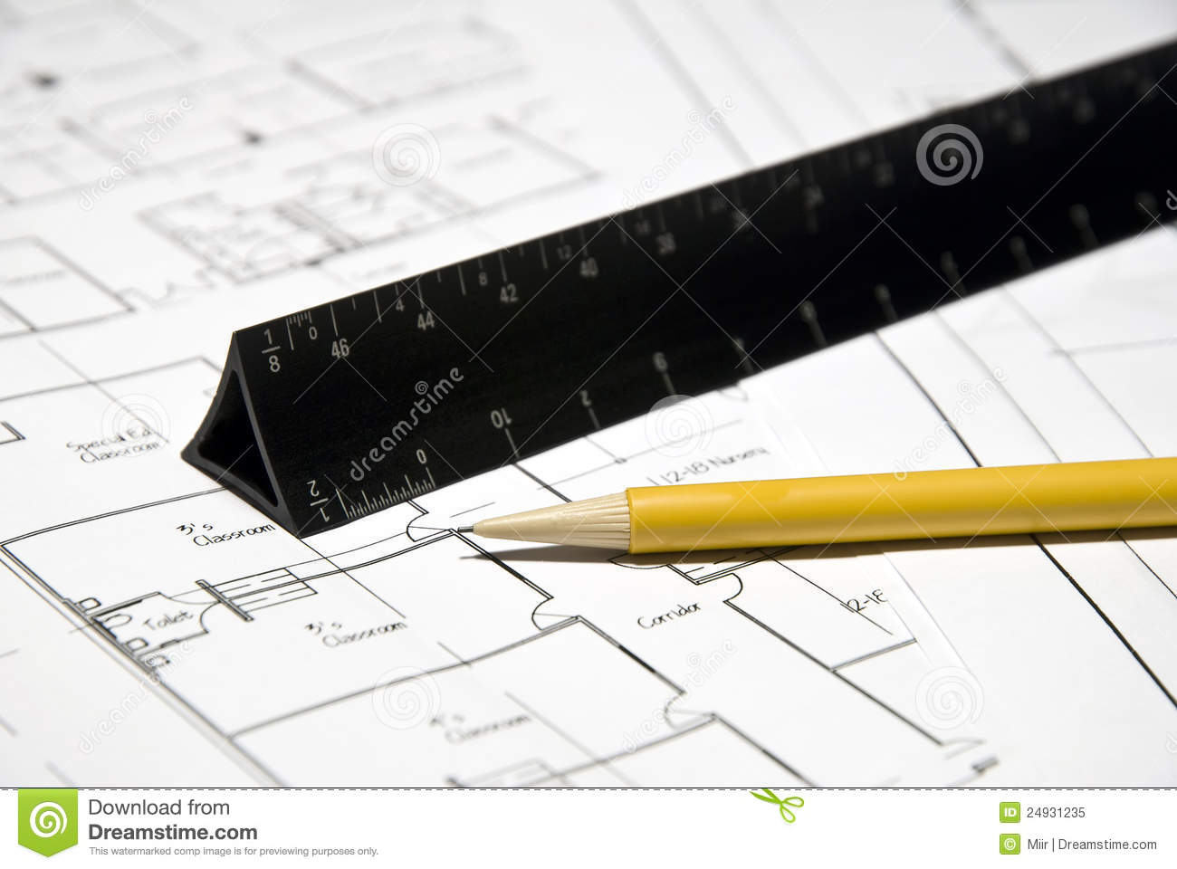 Architect Tools And Plans Stock Image Image Of Mechanical 24931235