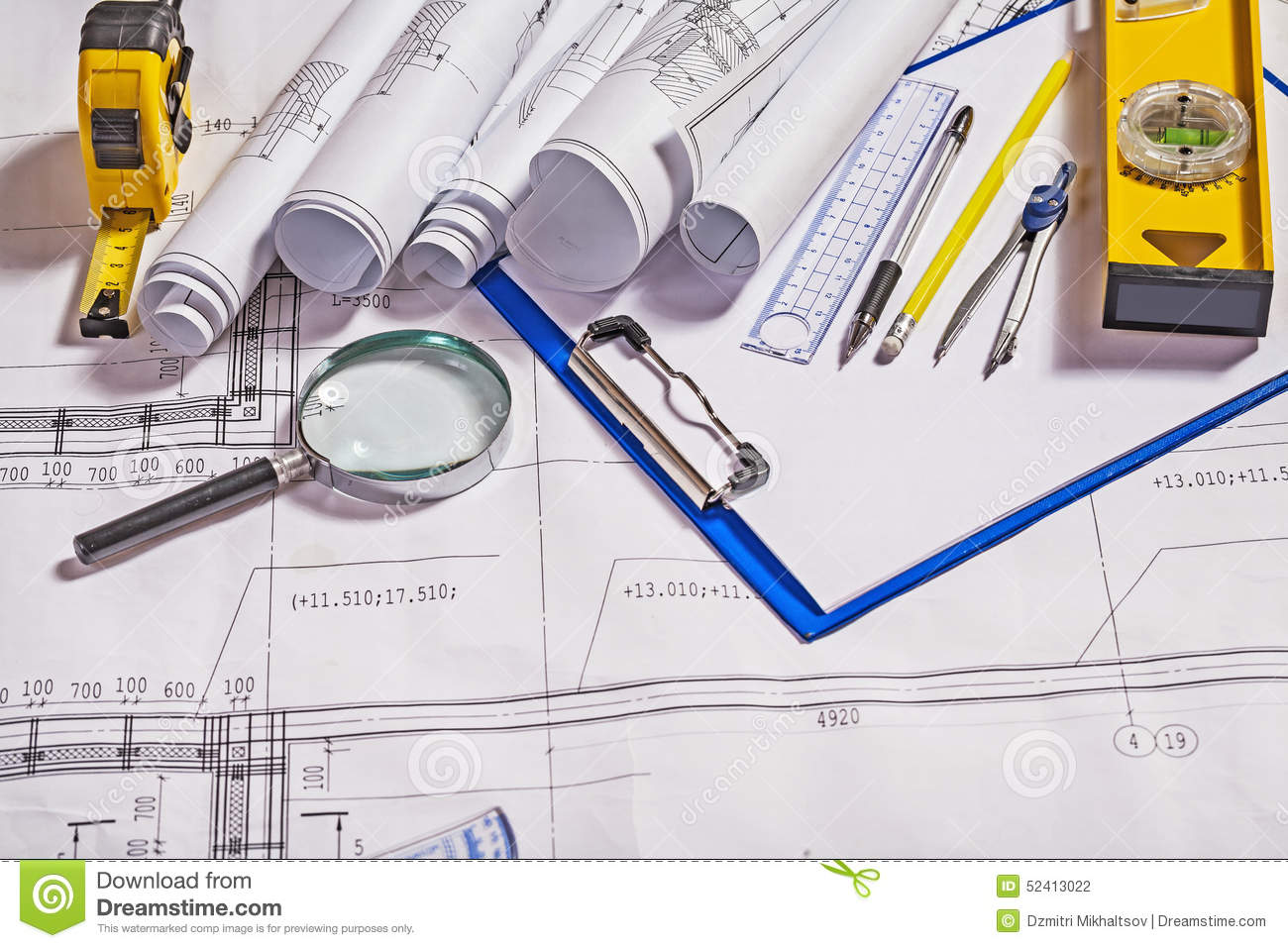 Architect tools on white blueprint construction stock blueprint architect tools on white blueprint construction stock blueprint construction malvernweather Image collections