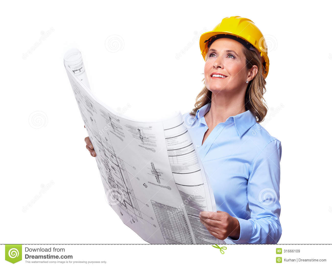 Architect Woman With A Plan Royalty Free Stock Images