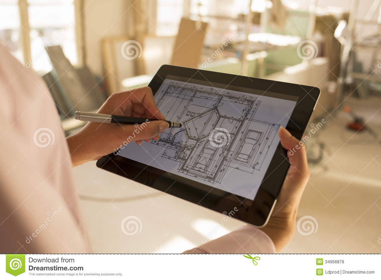 House Blueprint App Architect Woman Working With Electronic Tablet Royalty