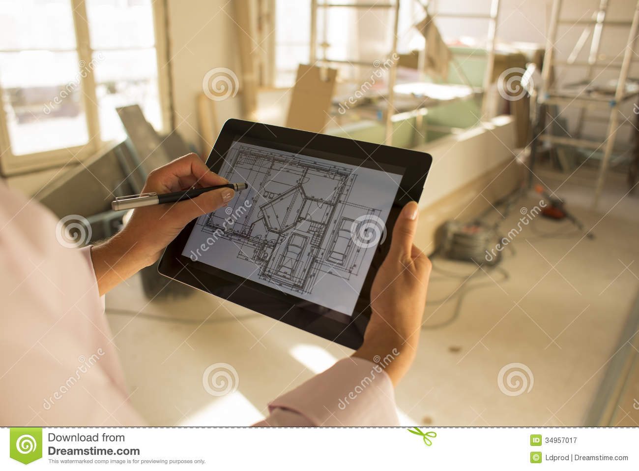 Architect Woman Working With Electronic Tablet Royalty