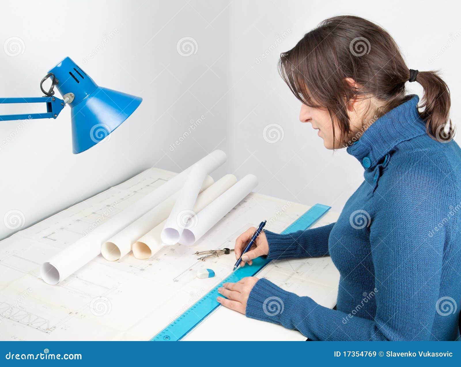 Architect at work stock image. Image of paper, studio ...