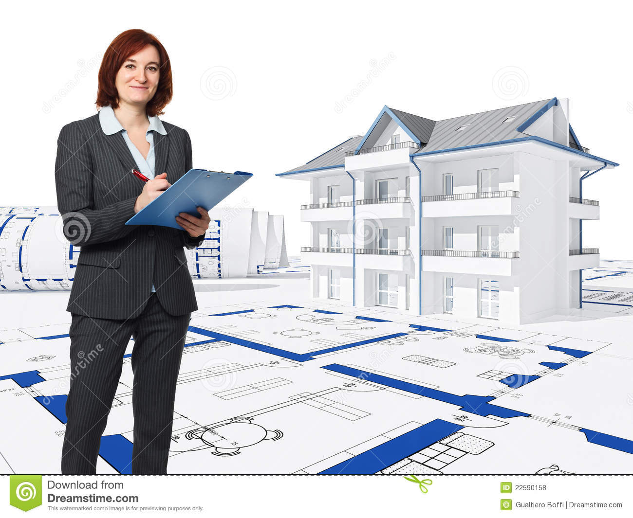 Architect at work stock illustration image of background for How to be an architect