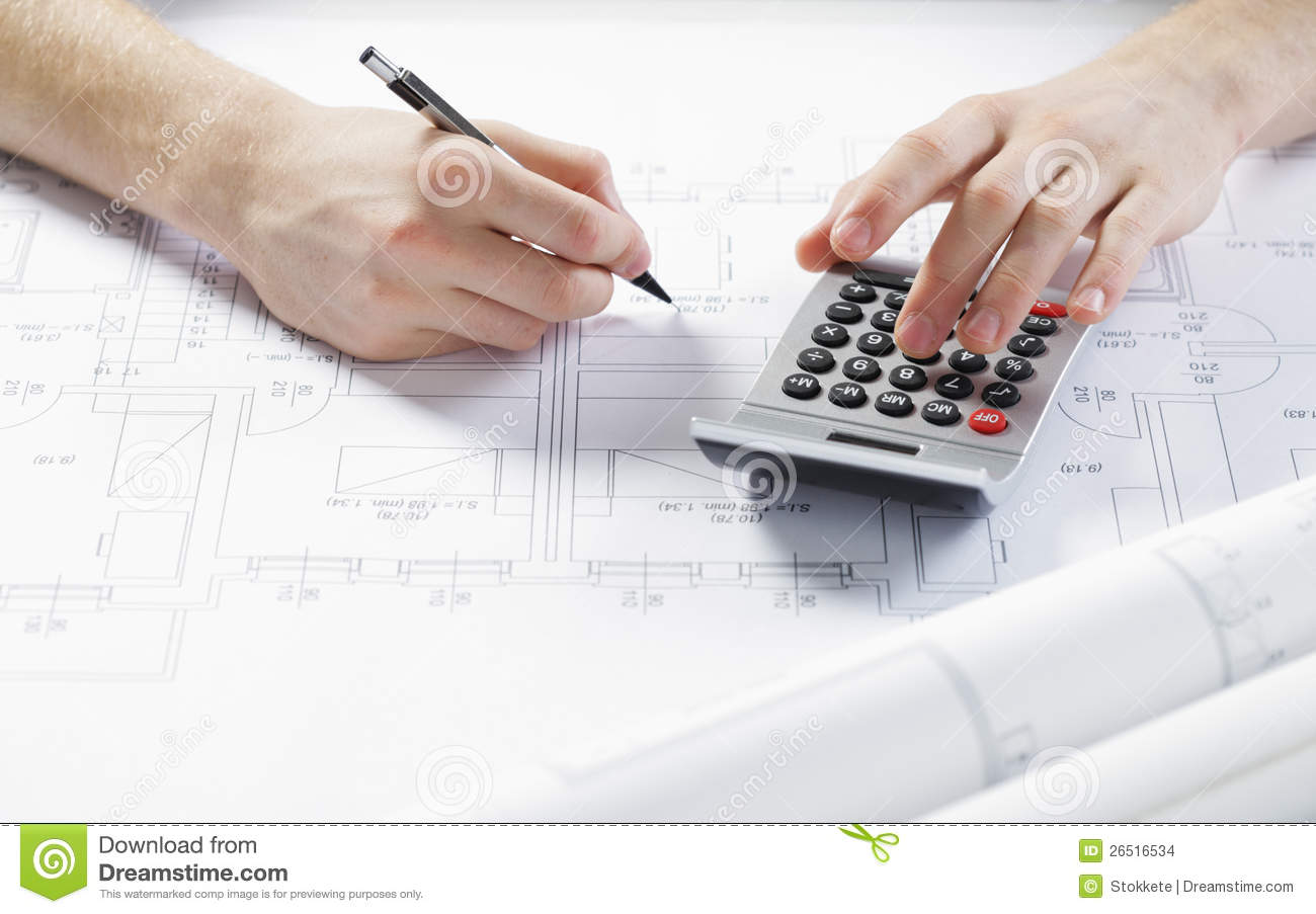 Architect at work stock photo. Image of hand, pencil ...