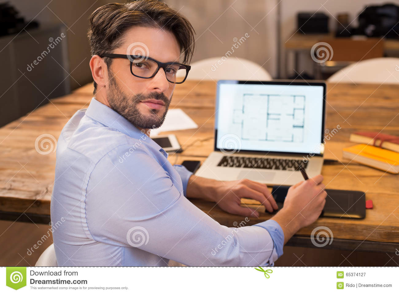 Architect at work stock photo image 65374127 for Architect at work