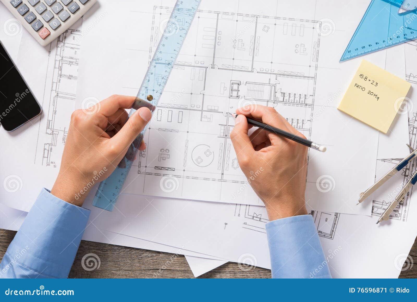 Architect at work stock image. Image of engineer ...