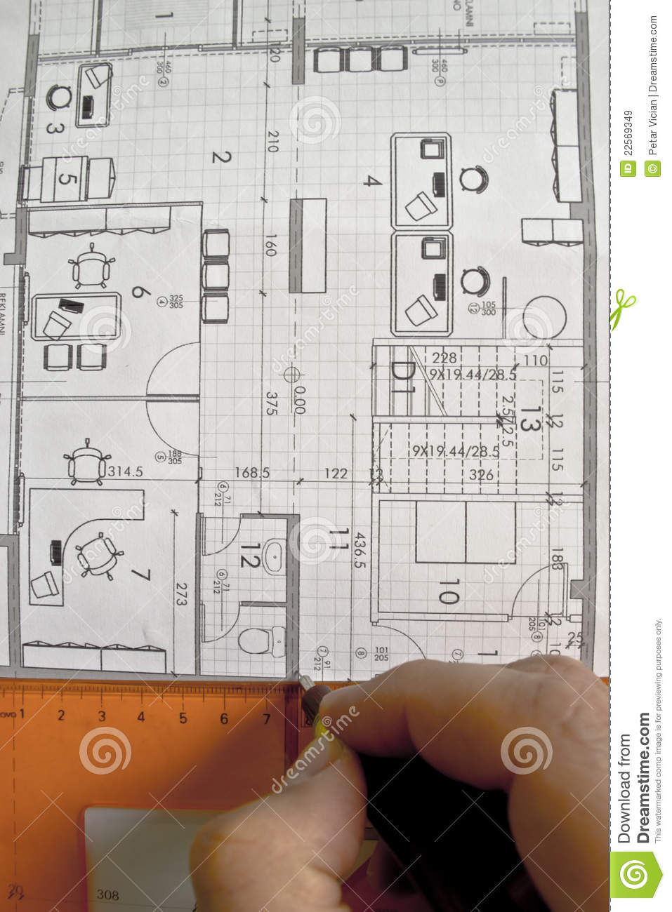 Architect Working On Architectural Plan Stock Image Image Of