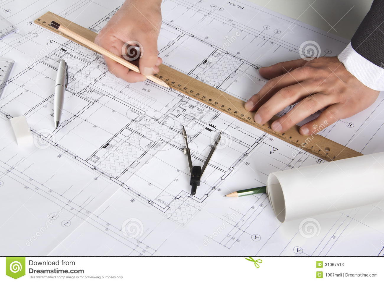architect working on architectural plans stock photos image architect working on architectural plans stock photos