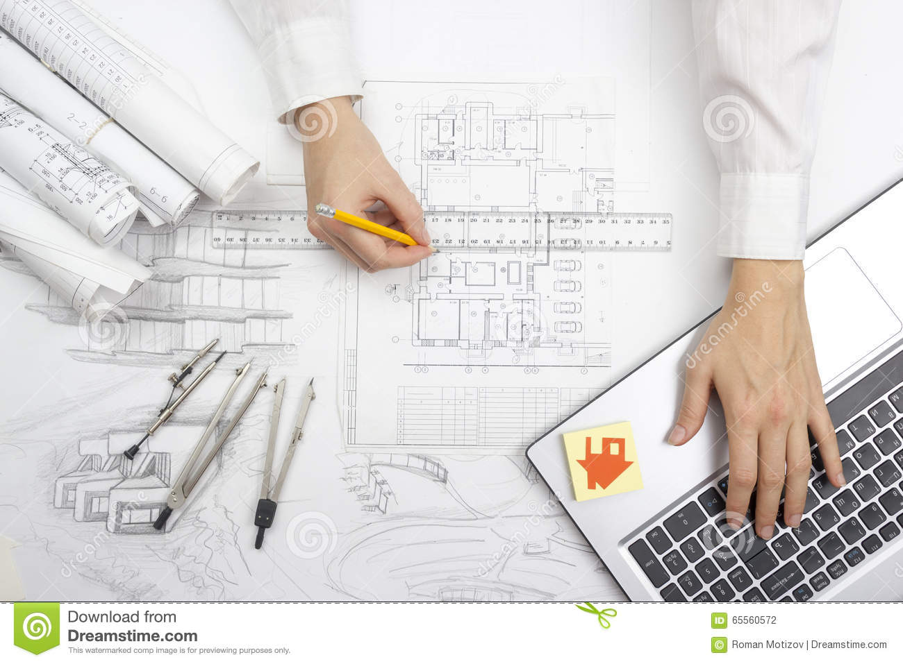Architect working on blueprint royalty free stock image for Blueprint estimator