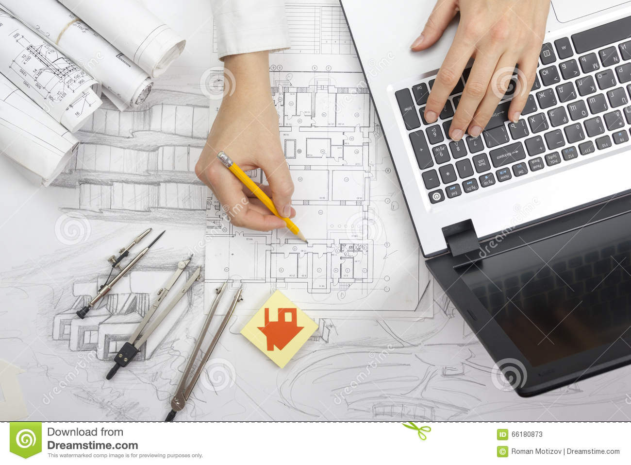Architect working on blueprint architects workplace for Blueprint estimator