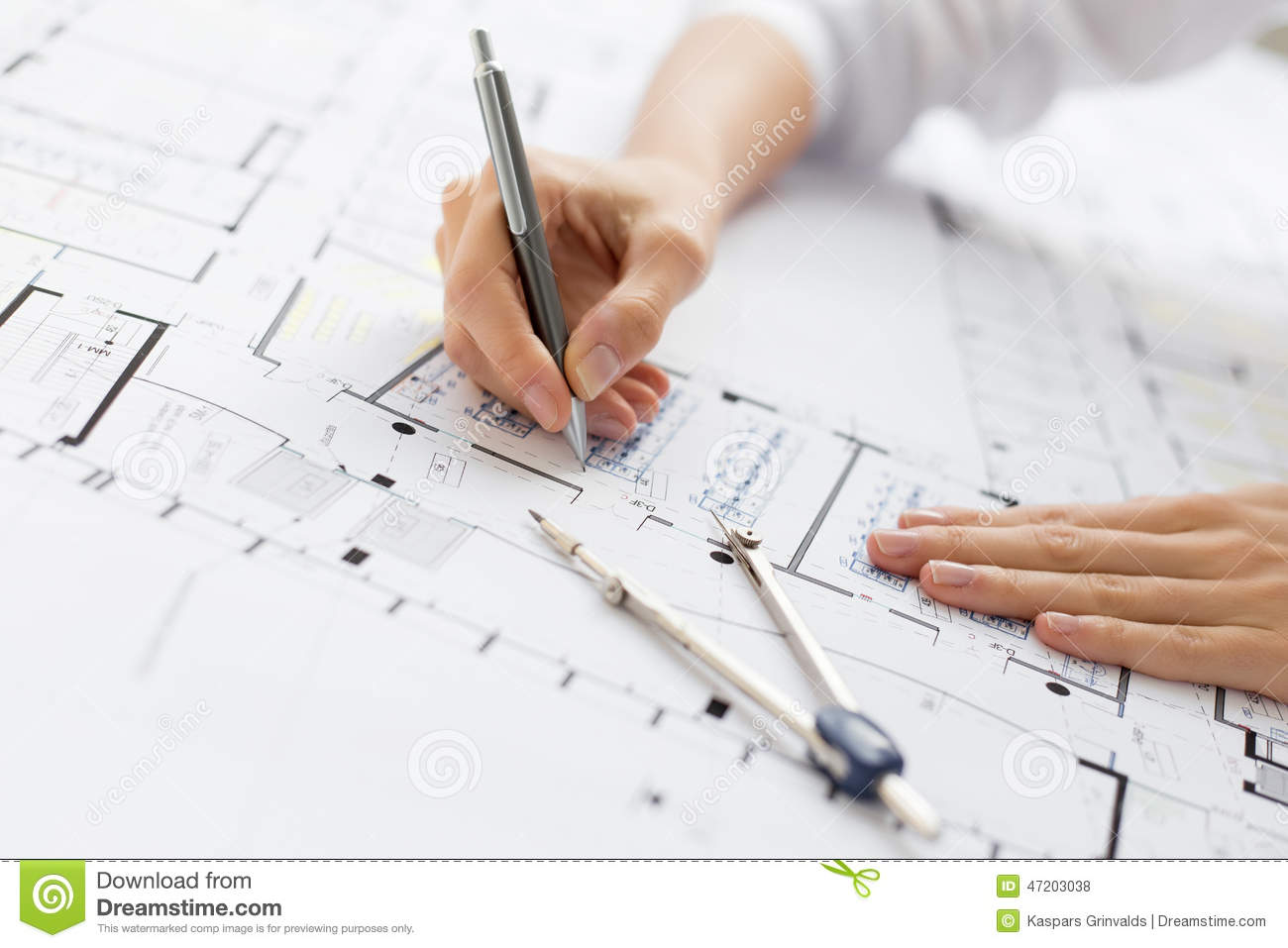Architect Working On Blueprint Stock Photo Image 47203038